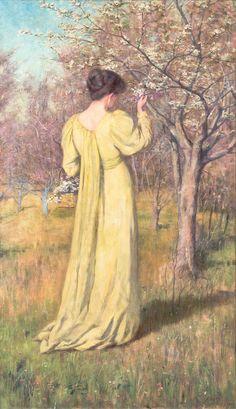 Frederick McCubbin, Mrs McCubbin Picking Blossom (Spring) 1890.