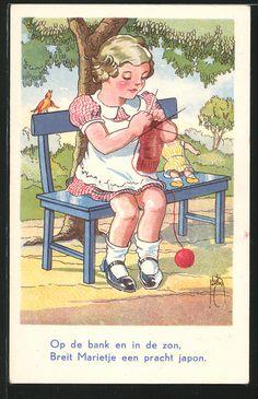 Künstler-AK Jacob Jansma: Op de bank en in de zon, strickendes Mädchen auf einer…