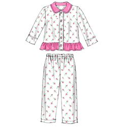 McCall's Sewing Pattern Toddlers'/Children's Button-Front Tops and Pants Childrens Pyjamas, Toddler Pajamas, Girls Pajamas, Kids Nightwear, Girls Sleepwear, Girls Dresses Sewing, Baby Girl Dresses, Pajama Outfits, Kids Outfits