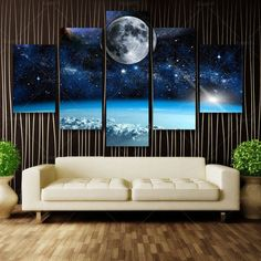 5 Panel Modern Printed Space Universe Landscape Paintings Canvas Picture Earth For Living Room Picture Modular picture Unframed man cave -- AliExpress Affiliate's Pin. Click the VISIT button to find out Living Room Pictures, Wall Art Pictures, Canvas Pictures, Pictures To Paint, Seascape Paintings, Landscape Paintings, Canvas Wall Art, Wall Art Prints, Canvas Canvas