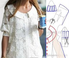 Encontrei na minha caixa de correio esta blusa de renda que apesar de simples… Blouse Patterns, Clothing Patterns, Moda Minimal, Sewing Blouses, Easy Sewing Patterns, How To Make Clothes, Couture Tops, Diy Shirt, Diy Clothing