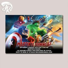 The Avenger Age Of Ultron Lego Birthday Party Card Digital Invitation