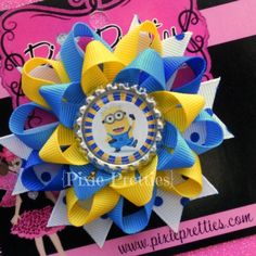Despicable Me Minion Loopy Flower Clip Your by PixiePretties, $7.00