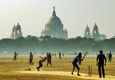 Playing cricket in India, ahead of an Indian Palace