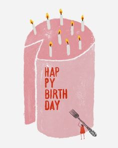 Happy Birthday Print Modern Nursery & Kids prints you'll love too! Decor your home and contemporary children's room with bold colorful wall art. Both for small and grown-up happy people Pink Birthday Cakes, Birthday Cake With Candles, Birthday Cards, Happy 20 Birthday, Birthday Greetings, Book Design Graphique, Illustration Design Graphique, Illustration Simple, People Illustration