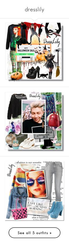 """""""dresslily"""" by bellamonica ❤ liked on Polyvore featuring WALL, Chanel, 7 For All Mankind, MAC Cosmetics, Guerlain, ZeroUV, Mary Katrantzou, Hermès, Dr. Martens and vintage"""
