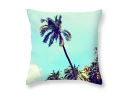 Vintage Palm Tree, boho throw pillow, tropical cushion, blues, palm leaves, sky by PillowsChrissyInk on Etsy https://www.etsy.com/au/listing/281160168/vintage-palm-tree-boho-throw-pillow
