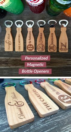 If you are looking for a beautiful, simple, personalized, thoughtful gift idea look no further! These incredible, personalized bottle openers make the perfect gift for any occasion. Made from 100% maple, they are highly durable and will look fantastic displayed on any magnetized surface! Simply provide us with the name(s) and dates desired and we will do the rest!