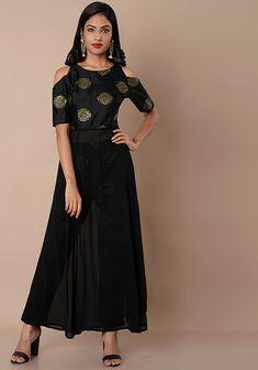 Black Motif Cold Shoulder Silk Maxi Tunic #Fashion #FabAlley #Tunic #WeddingWear #Marriage #ColdShoulder #MaxiTunic