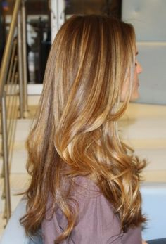 Dark medium blonde with some caramel highlights.Medium honey blonde hair color