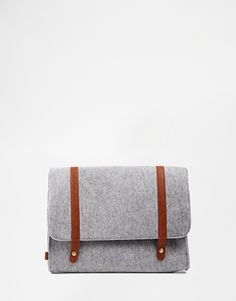 Not quite leather but still cool! ASOS Laptop Case in Wool Fabric with Straps
