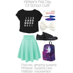 Kimber's First Day Of School Outfit by amazing-sureena on Polyvore featuring polyvore, fashion, style, Converse, JanSport, H&M, Maybelline and Stila