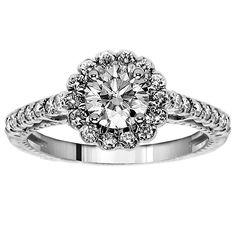 18k or 14k White Gold 1 1/6ct TDW Halo Round Diamond Engagement Ring (G-H, SI1-SI2) (18k Gold - Size 7.5), Women's