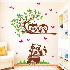 Wandtattoos - Wandtattoo Süße Eulen Ast mit Waschbären (3farbig) - ein Designerstück von wandtattoo-loft bei DaWanda