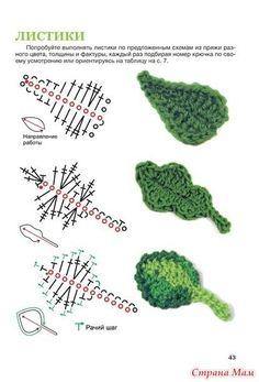 Crochet Flowers Patterns/Patrones de flores a crochet - touristicplace and knitting knit knitting crochet diy Crochet Diy, Crochet Gratis, Crochet Food, Freeform Crochet, Crochet Motif, Crochet Leaf Patterns, Crochet Leaves, Crochet Puff Flower, Crochet Diagram