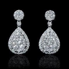 Diamond 18k White Gold Dangle Earrings
