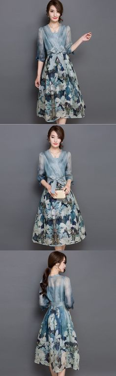 New Korea Top Fashion Women V-Neck Printed Floral Chiffon Summer Dress 2 Piece Set Vintage Empire Long Maxi Dress Color Vestidos