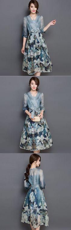 New Korea Top Fashion Women V-Neck Printed Floral Chiffon Summer Dress 2 Piece Set Vintage Empire Long Maxi Dress Color Vestidos