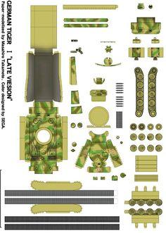 Dibujo recortable Tanque Tigre Alemán Paper Car, Paper Toys, Transformer Costume, Cardboard Design, Cool Paper Crafts, Model Tanks, Oragami, Paper Folding, Model Airplanes