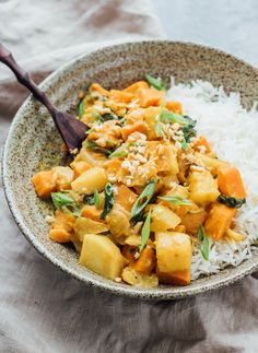 This roasted sweet potato and pineapple curry is the perfect warming comfort dish. It's also healthy, vegan, and gluten-free!