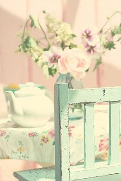 Beautiful pastel colours! Countryside tea.