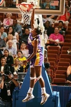 "This Day In  WNBA History: July 30, 2002 - Lisa Leslie of the Los Angeles Sparks throws down the first dunk in WNBA history against the Miami Sol. In 2006 WNBA fans voted it the ""Greatest Milestone in WNBA History.""  keepinitrealsports.tumblr.com  pinterest.com/mysterkeepinit  keepinitrealsports.wordpress.com  facebook.com/pages/KeepinitRealSports/250933458354216  Mobile- m.keepinitrealsports.com"