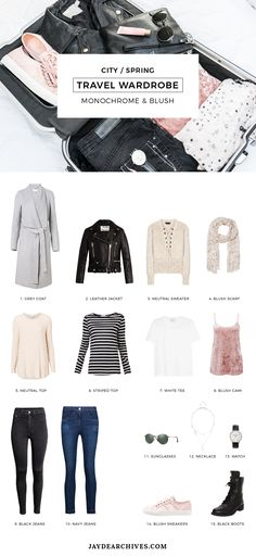 Travel Wardrobe: Monochrome and Blush. Perfect for the city in spring or autumn. Travel Outfit Spring, Spring Outfits, Outfit Winter, Travel Wardrobe, Capsule Wardrobe, Wardrobe Ideas, Travelers Notebook, Photography Beach, Neutral Tops