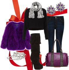"""""""Add festive sparkle to your holiday wardrobe - Casual"""" by kekek ❤ liked on Polyvore"""