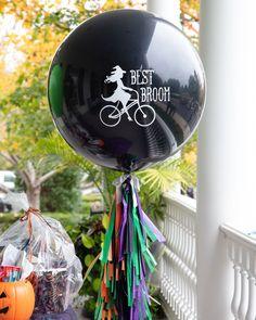 Personalized Jumbo Balloon with Tassels for Halloween Party Best Broom, Jumbo Balloons, Balloon Tassel, Rock Paper Scissors, Halloween Party, Tassels, Christmas Bulbs, Sunday, Holiday Decor