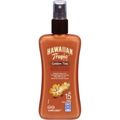 Hawaiian Tropic Spray-on Sunscreen Lotion - Natural Tanned Effect -... ($16) ❤ liked on Polyvore featuring beauty products, bath & body products, sun care, makeup, beauty, fillers, beach, furniture, green y coola suncare