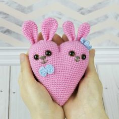 The 14th of February is Saint Valentine's Day, a day of love and romance. Surprise your sweetheart with unforgettable gift - cute bunny heart amigurumi crocheted with all your love and care! Follow this free amigurumi pattern!