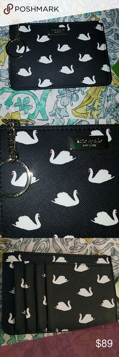 Kate Spade key chain card wallet pouch swan Kate Spade key chain wristlet card wallet pouch swan beautiful and functional... make me an offer i cant refuse... not Michael Kors not Coach ... very sturdy .... Kate spade collected collection collector kate spade Bags Wallets