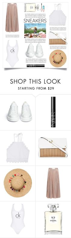 """""""So Fresh: White Sneakers"""" by violet-peach ❤ liked on Polyvore featuring Robert Clergerie, NARS Cosmetics, Front Row Shop, A.L.C., Calvin Klein, Chanel, Maybelline and whitesneakers"""