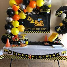 Birthday Backdrop, Birthday Background, Birthday Party Decorations, Birthday Ideas, Digger Birthday Parties, Construction Birthday Parties, Construction Party, Twin Birthday, Banner Printing