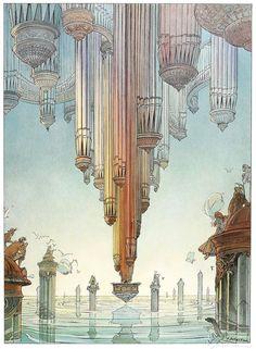 ARCHatlas: Francois Schuiten, The Obscure Cities Arte Sci Fi, Sci Fi Art, Comic Kunst, Comic Art, Fantasy Landscape, Fantasy Art, Moebius Art, Illustrations, Illustration Art
