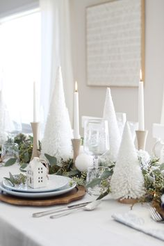 If you're dreaming of a white Christmas, look no further than our irresistibly snowy tabletop trees. Available in three sizes to complement any holiday display, they're crafted of heavily flocked faux bottlebrush, covered with icy glitter and standing tall atop natural wood bases. The perfect addition to any Christmas tablescape. #worldmarket #christmas Festival Decorations, Table Decorations, Centerpieces, Christmas Tablescapes, Affordable Home Decor, World Market, Miniature Houses, Beautiful Space, White Christmas