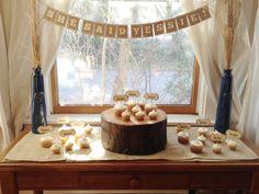 Bridal Shower Banner - Burlap Rustic Vintage Sewn Ivory Cream - She Said Yes - via Etsy.... Cute idea... easy DIY