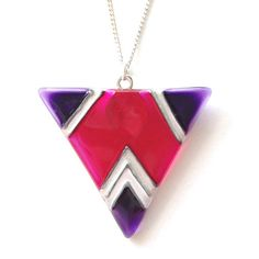 Glass Geometric Triangle Necklace  Silver Plated by witchcorner, £15.00