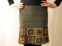 Crochet granny squares to the bottom of a wool skirt for the lazy?