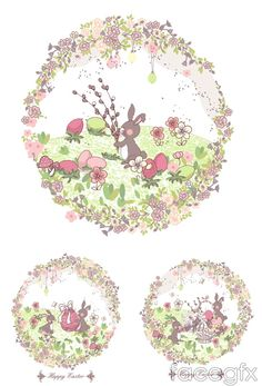 Cute Easter Bunny vector pattern