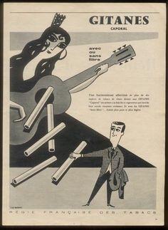 1957 Pierre Felix Masseau Art Gitanes Cigarette Vintage French Print Ad | eBay