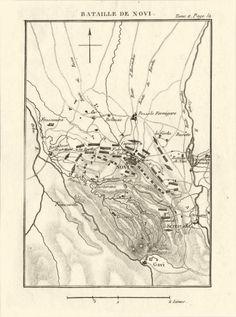 Battle of Novi 1799. Novi Ligure. War of the Second Coalition. Italy, 1819 map.