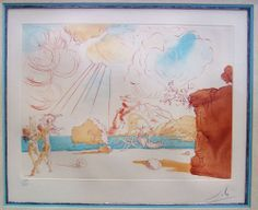 "SALVADOR DALI ""Plage de Cadaques"" Original Signed Colored Etching 1967 Authentic"