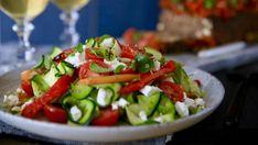 Zucchini ribbon, capsicum and feta salad recipe