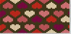 Tricksy Knitter Charts: Allover hearts Chocolate Raspberry by Megan Goodacre: Knitting Charts, Loom Knitting, Knitting Stitches, Knitting Patterns, Loom Beading, Beading Patterns, Mochila Crochet, Tapestry Crochet Patterns, Cross Stitch Heart
