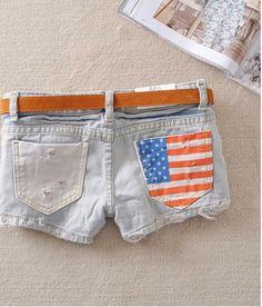 Short clásico calientes de la Manera Stars Stripes Flag EE.UU. Verano  Precio:$ 66.400 Talla: S. M. L. XL