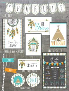 Pow wow Birthday Party Invitations • ONE • arrows feathers tribal native teepee • Orange Turquoise • Signs / prints / posters / first birthday / 1st / be brave / dreamcatcher / printable party decor / DIY Printable / by greylein on Etsy