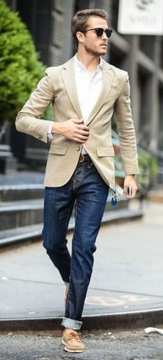 A tan blazer, white oxford shirt, jeans., Sperry's watch, shades and business casual Tan Blazer, Blazer Jeans, Blazer Jacket, Denim Jeans, Fashion Mode, Mens Fashion, Fashion Menswear, Suit Fashion, Urban Fashion