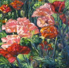 Original Oil flower painting impressionism poppies floral abstract contemporary garden landscape 12 x 12. $139.00, via Etsy.
