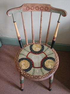 spindle back chair - hand-painted